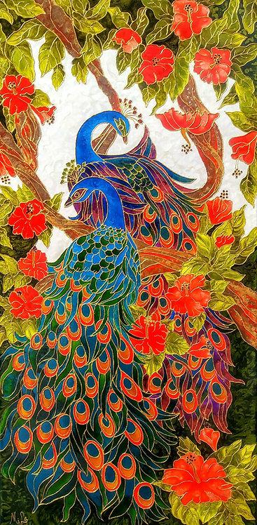 Peacocks Delight/ Peacock Giclée Print / Peacocks Art