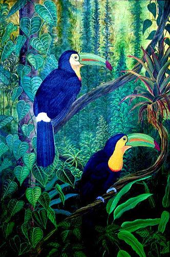 Les Toucans/ Painting/ Large canvas/ Reproduction