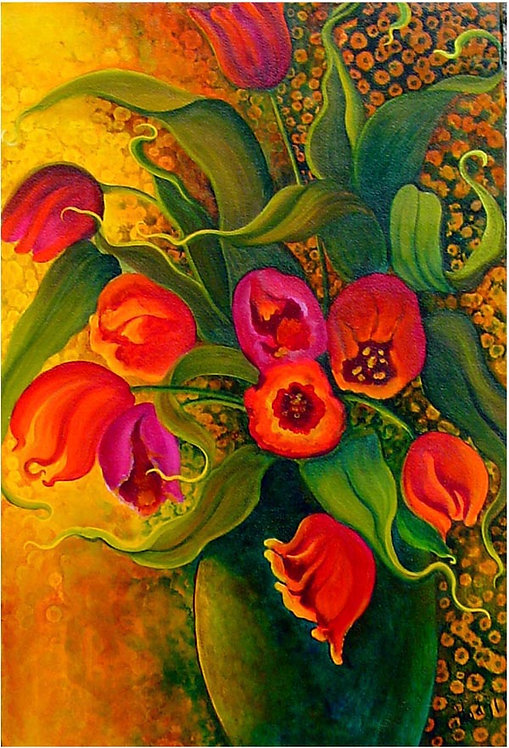Crazy Tulips/ Canvas Painting/ Giclée/Reproduction