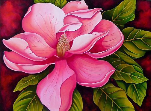 Pink Magnolia/Giclée/Canvas Painting/Reproduction