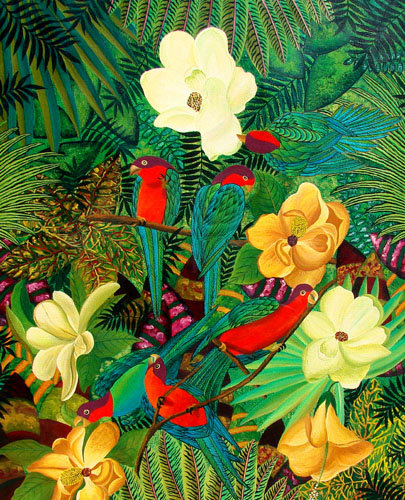 Parrots and Orchids/ Painting/ Large canvas/ Reproduction