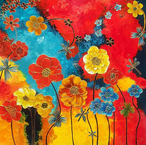 Flower Power- Canvas Painting/ Reproduction/Giclée