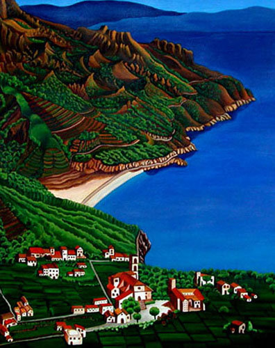 Amalfie Coast/ Painting/ Large canvas/ Reproduction