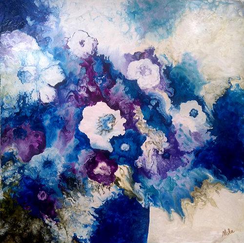 Blue Gardenias/Canvas Painting/ Giclée/Reproduc