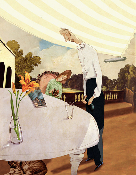 Hubert Warter - Illustration - Tisch - Terasse - table - terrace - Ober - bezahlen - waiter - pay