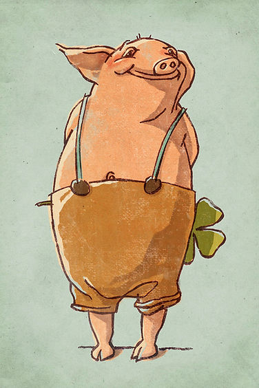 Hubert Warter - Illustration - Schwein - Glück - Kleeblatt - pig - luck - cloverleaf