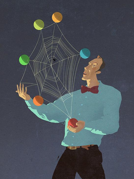 Hubert Warter - Illustration - Jongleur - jonglieren - Spinne - Spinnennetz - Zeit - Lockdown - Shutdown - juggler - juggling - spider - spider web - time - lockdown - shutdown