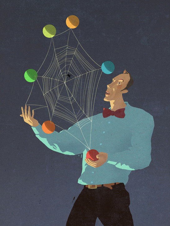 Hubert Warter - Illustration - Jongleur - jonglieren - Spinne - Spinnennetz - Zeit - Lockdown - Shutdown - juggler - juggling - spider - spider web - time - lockdown - shutdown