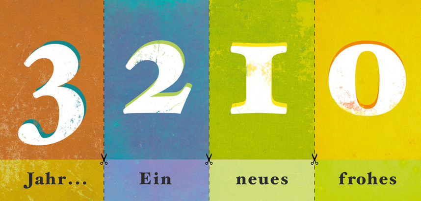 Hubert Warter - Illustration - Karte - Neujahrskarte - 2013 - Nummern - New Year card - 2013 - Numbers
