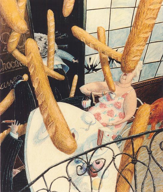 Hubert Warter - Illustration - Zeichnung - grotesk - Chaos - Baquettes - Café - drawing - grotesque - chaos - baquettes - café