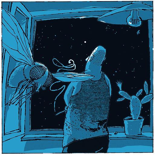 Hubert Warter - Illustration - Nacht - Mann - Fenster - Sterne - Fliege - sinnieren - schauen - träumen - rauchen - fern - nah - night - man - window - stars - fly - ponder - look - dream - smoke - far - near