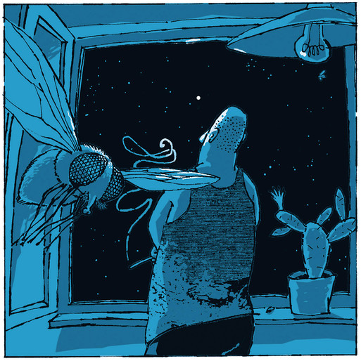 Hubert Warter - Illustration - Nacht - Mann - Fenster - Sterne - Fliege - sinnieren - schauen - träumen - rauchen - fern - nah - night - man - window - stars - fly - ponder - look - dream - smoke - far - near