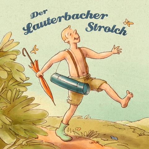 Hubert Warter - Illustration - Junge - fröhlich - wandern - Regenschirm - Boy - happy - hiking - umbrella