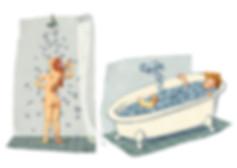 Hubert Warter - Illustration - Mädchen - Junge - Dusche - Bad - Sprache - girl - boy - shower - bath - language