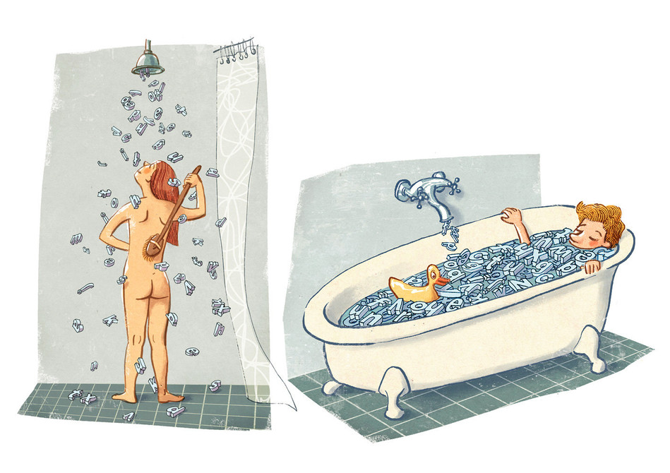 Hubert Warter - Illustration - Mädchen - Junge - Dusche - Bad - Sprache - girl - boy - shower - bath - language