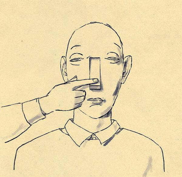 Hubert Warter - Illustration - Mann - apathisch - Apathie - autistisch - Autismus - Schalter - anschalten - Lockdown - Shutdown - Man - apathetic - apathy - autistic - autism - switch - on - lockdown - shutdown