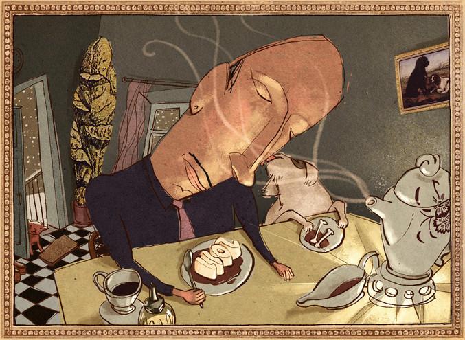 Hubert Warter - Illustration - Karte - Neujahrskarte - 2011 - Mann - Hund - Knochen - gemütlich - traurig - Winter - einsam - Kaffee - Pudding - New Year's card - 2011 - man - dog - bone - cozy - sad - winter - lonely - coffee - pudding