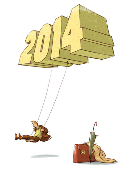Hubert Warter - Illustration - Karte - Neujahrskarte - 2014 - Schaukel - schaukeln - New year card - 2014 - Swing - swing