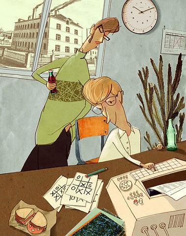 Hubert Warter - Illustration - computer - Bill Gates - Paul Allen