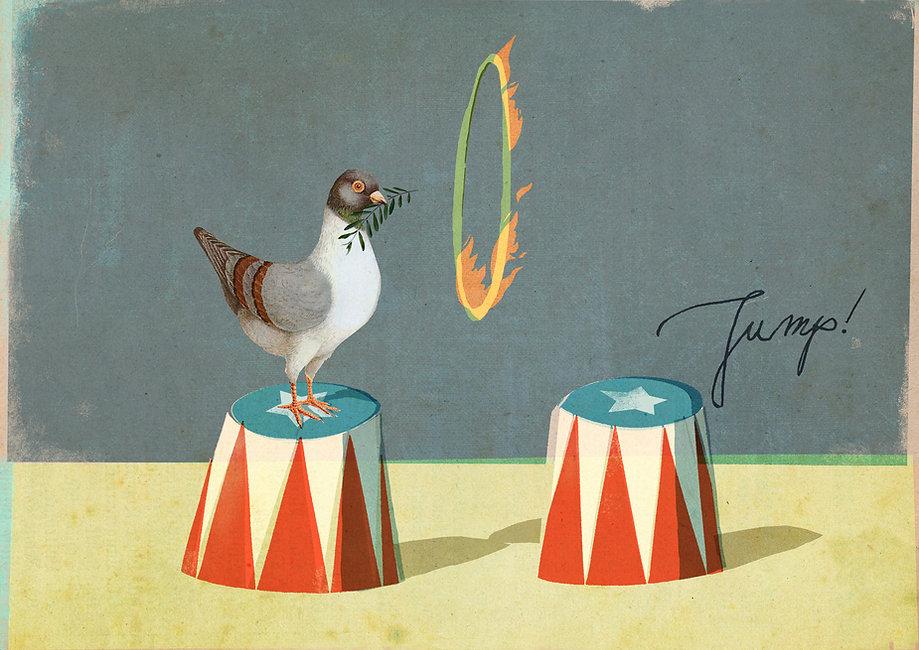 Hubert Warter - Illustration - Zirkus - Zirkusnummer - Ring - Feuer - Taube - Friedenstaube - Friede - Podest - Artist - Amerika - Trumpd.jpg - Circus - Circus act - Ring - Fire - Dove - Dove of peace - Peace - Platform - Artist - America