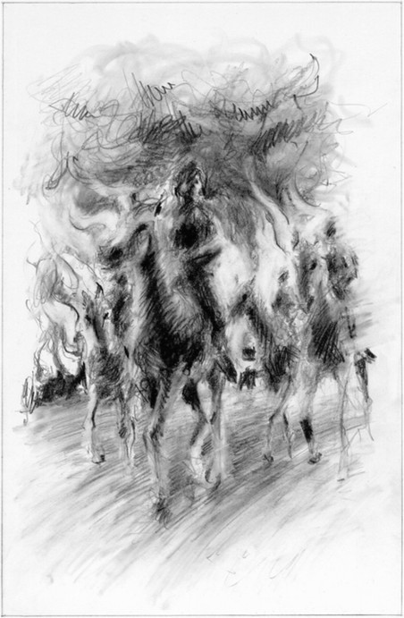 Hubert Warter - Illustration - Zeichnung - Bleistift - Pferde - Reiter - Feuer - brennen - drawing - pencil - horses - rider - fire - burn