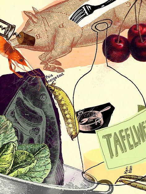 Hubert Warter - Illustration - essen - trinken - Küche - eating - drinking - kitchen