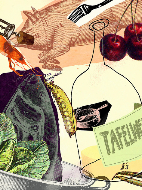 Hubert Warter - Illustration - essen - trinken - Küche - eating - drinking - kitchen