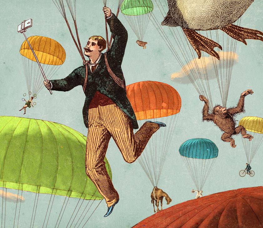 Hubert Warter - Illustration - Selfie - fliegen - Fallschirm - Dromedar - Eule - surreal - Artist - Wolken - retro - flying - parachute - dromedary - owl - clouds