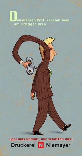 Hubert Warter - Illustration - Mann - aufziehen - funktionieren - Motivation - man - to raise - to function - motivation