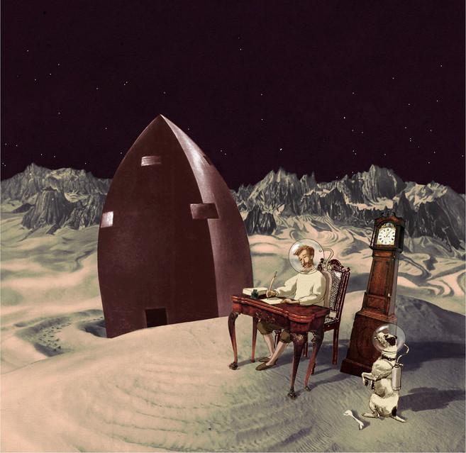 Hubert Warter - Illustration - Mond - Rakete - Mondlandschaft - Moon - Rocket - Moon landscape - Jules Verne