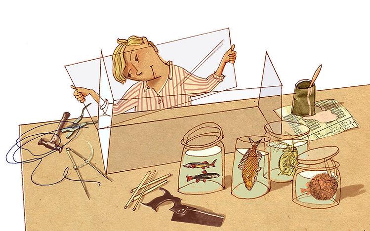 Hubert Warter - Illustration - basten - bauen - Aquarium - bastions - building - Aquarium