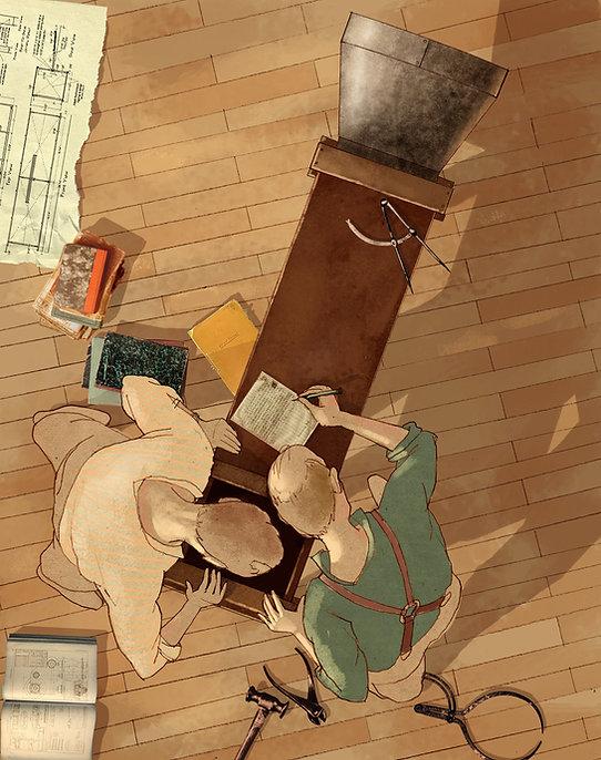 Hubert Warter - Illustration - experimentieren - Windkanal - Brüder Wright - Vogelperspektive - experiment - wind tunnel - Wright brothers - bird's eye view