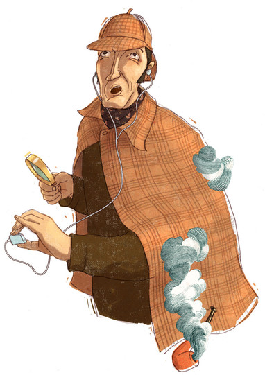 Illustration - Sherlock Holmes - MP3 Player