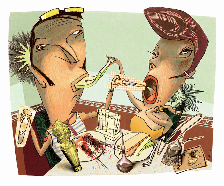 Hubert Warter - Illustration - Paar - essen - füttern - molekulare Küche - couple - eating - feeding - molecular cuisine