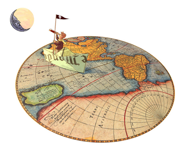 Hubert Warter - Illustration - Kind - Papierboot - Mond - Reise - Fernrohr - träumen - dream - child - paper boat - moon - journey - telescope - Landkarte - map