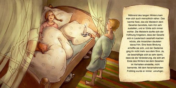 Hubert Warter - Illustration - Junge - Mädchen - Bett - Katze - Kerze - gemütlich - Liebe - boy - girl - bed - cat - candle - cosy - love