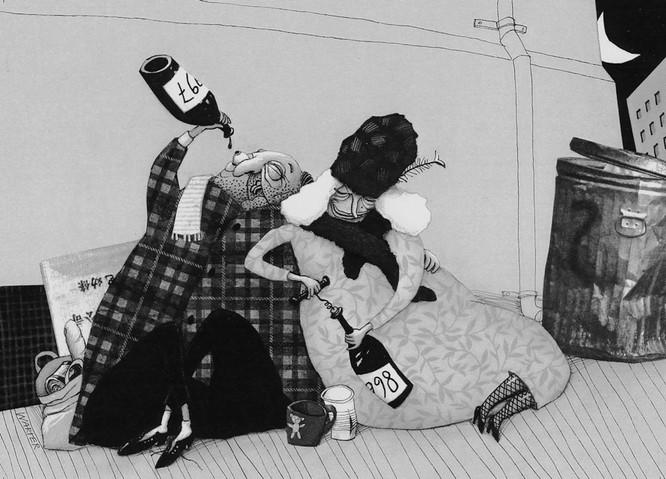 Hubert Warter - Illustration - Karte - Neujahrskarte - obdachlos - Penner - Wein - Mülltonne - New Year's card - homeless - bum - wine - garbage can