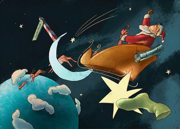 Hubert Warter - Illustration - Weihnachtsmann - Schlitten - Rentier - Weltall - Erde- Santa Claus - Sleigh - Reindeer - Space - Earth