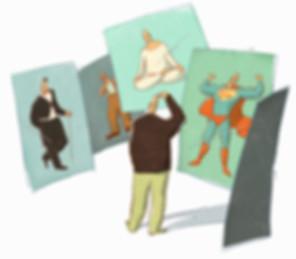 Illustration - Mann - Identität - Computerspiel - Satire - man - identity - computer game - satire