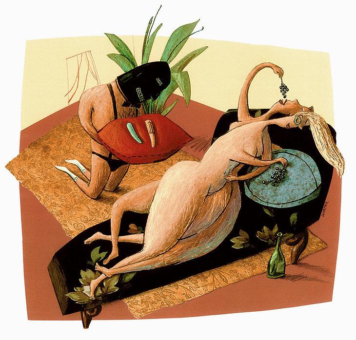Hubert Warter - Illustration - lesbisch - devot - Genuss - Dildo - Hörigkeit - Hedonismus - lesbian - submissive - pleasure - dildo - bondage - hedonism