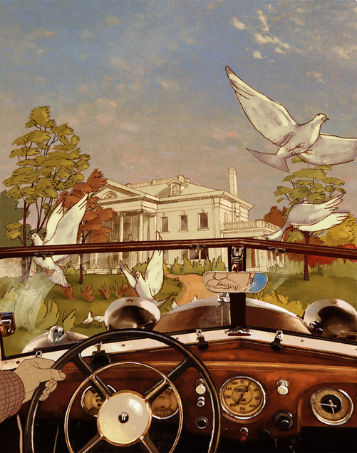 Hubert Warter - Illustration - Villa - Oldtimer - Abend - Vögel - Vintage car - Evening - Birds