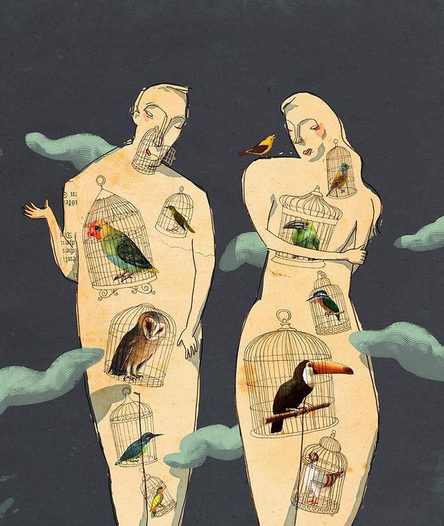 Hubert Warter - Illustration - Paar - Kommunikation - Vögel - pair - communication - birds  - Käfig - Vogelkäfig - zuhören - Cage - Bird cage - listen - Verständnis - Skepsis - Annäherung - Understanding - Scepticism - Approach