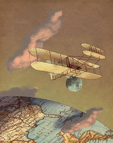 Hubert Warter - Illustration - Flieger - Brüder Wright - Erde - Mond - Aviators - Wright brothers - Earth - Moon