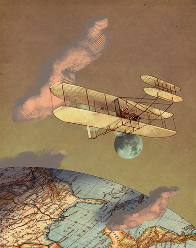 Hubert Warter - Illustration - Flieger - Brüder Wright - Erde - Mond - Aviators - Wright brothers - Earth - Moon