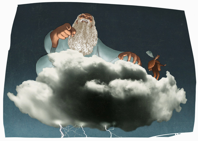 Hubert Warter - Illustration - Gott - Wolke - Strafe - Zorn - God - cloud - punishment - anger