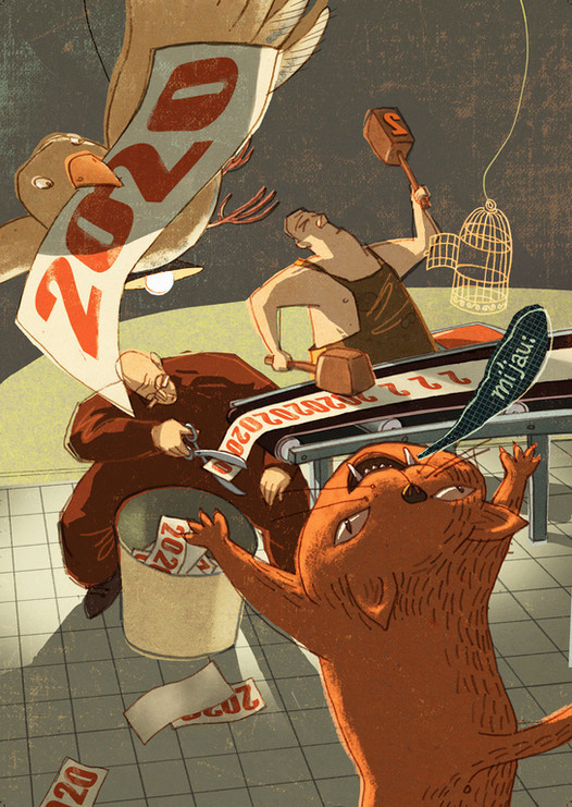Hubert Warter - Illustration - Karte - Neujahrskarte - 2020 - Werkstatt - Katze - Druckwerkstatt - drucken - Eimer - hämmern - Vogel - Käfig - new year card - 2020 - workshop - cat - printing workshop - print - bucket - hammering - bird - cage