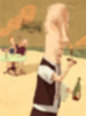 Hubert Warter - Illustration - trinken - riechen - Wein - Genuss - Ober - Paar - Meer - drinking - smelling - wine - pleasure - waiter - couple - sea
