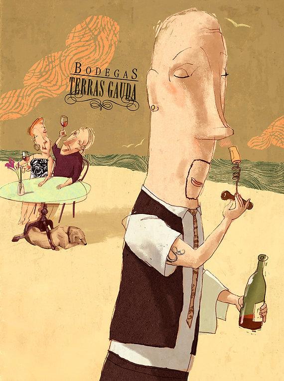 Hubert Warter - Illustration - trinken - riechen - Wein - Genuss - Ober - Paar - Meer - drinking - smelling - wine - pleasure - waiter - couple - sea
