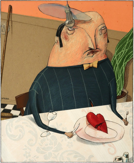 Hubert Warter - Illustration - weinen - essen - Mahlzeit - Herz - Trauer - crying - eating - meal - heart - mourning - Einsamkeit - Loneliness