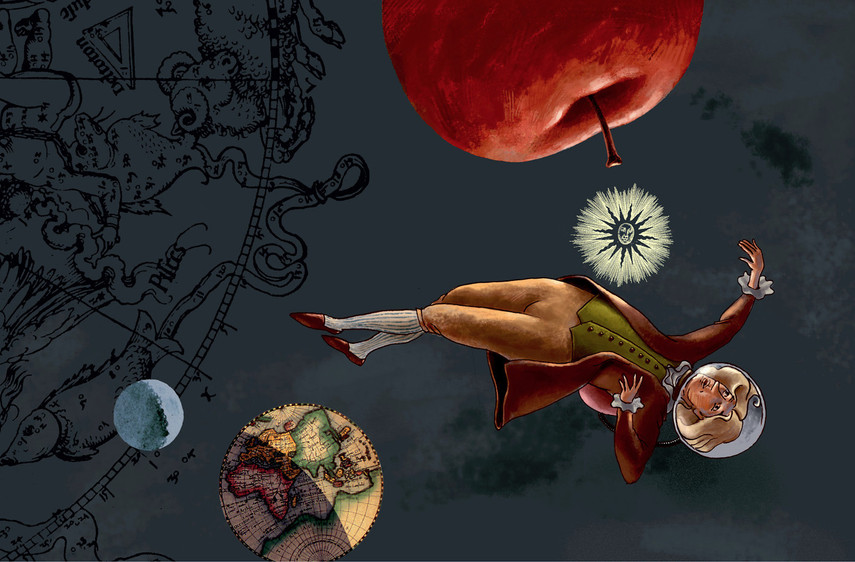 Hubert Warter - Illustration - Newton - Weltall - Weltraum - Apfel - schweben - Mond - Newton - space - outer space - apple - floating - moon